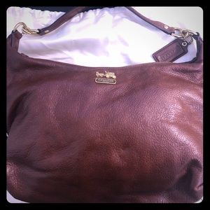 Brown leather Coach hobo with shoulder strap